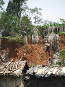 Limestone formations near the quarry in Lumshnong (Photo: Shyam G Menon)