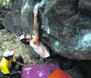 From an early edition of Girivihar's annual climbing competition (Photo: Sharad Chandra)