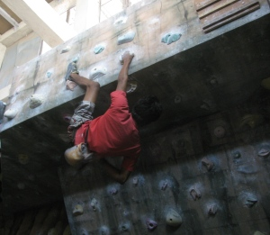Vicky in the bouldering gym within the PMC wall (Photo: Shyam G Menon)