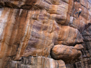 Kilian Fischhuber at work on a new route in Badami (Photo: Shyam G Menon)