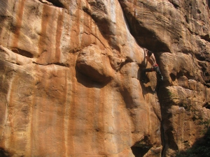 Tuhin Satarkar climbing n Badami (Photo: Shyam G Menon)