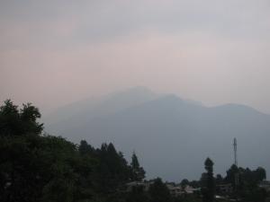 Munsyari, second week of June 2014. Somewhere behind that haze is Panchchuli (Photo: Shyam G Menon)