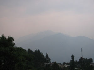 Munsyari, second week of June 2014. Somewhere behind that haze is Panchchuli (Photo: Shyam G Menon)