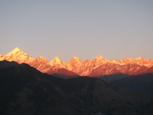 Panchchuli range at Munsyari; the normal view on a clear evening. (Photo: Shyam G. Menon)
