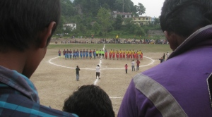 Teams line up before the football final (Photo: Shyam G Menon)