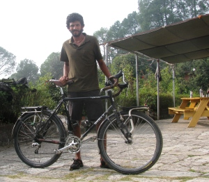 Ganesh Nayak with his bicycle at the NOLS India base in Ranikhet (Photo: Shyam G Menon)