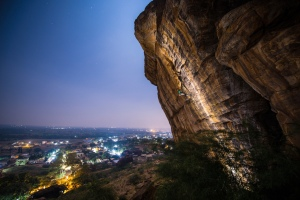Gaurav on Ganesha; the view with Badami in the backdrop (Photo: Sharad Chandra)