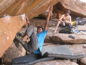 Tuhin climbs as Kilian watches (Photo: Shyam G Menon)