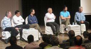 The Himalayan Club's panel discussion on Everest. From left: Lindsay Griffin, Umesh Zirpe, Dr Murad Lala, Harish Kapadia, Dawa Steven Sherpa and Divyesh Muni (Photo: Shyam G Menon)