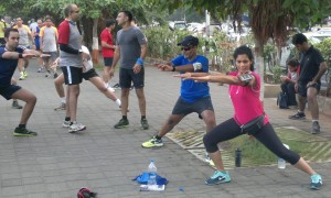 Runners stretching on Marine Drive after the monthly Bandra-NCPA run (Photo: Latha Venkatraman)
