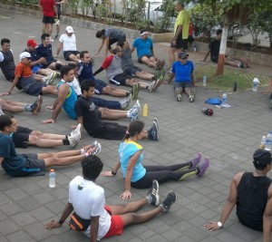 Runners on Marine Drive after the monthly Bandra-NCPA run (Photo: Latha Venkatraman)