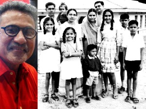 Left: Bhasker Desai (Photo: Shyam G Menon) Right: Photo taken likely in 1962, showing Bhasker at far right with his family on Pemba Island, Zanzibar. His eldest sister Sudha went to a boarding school 30 km away from home and the family had gone to see her off (Photo: courtesy Bhasker).