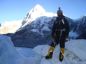 At the start of the Khumbu Icefall, Mt Pumori in the backdrop (Photo: courtesy Dr Murad Lala)