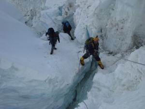 Negotiating a crevasse on the Khumbu Icefall (Photo: courtesy Dr Murad Lala)
