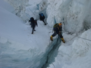 Negotiating a crevasse on the Khumbu Icefall (Photo: courtesy Dr Murad Lala)