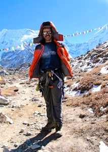 Dr Lala near Island Peak base camp during the Tripe Crown Expedition (Photo: courtesy Dr Murad Lala)