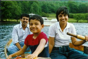 Bhasker with wife Nina and son Neeraj, Lake District, UK, 1990 (Photo: courtesy Bhasker)