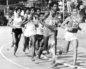 From an old race; Savio at far left, the late Shivnath Singh at far right (Photo: by arrangement)