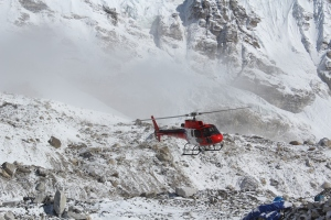 After the avalanche; a helicopter at EBC (Photo: courtesy Love Raj Singh Dharmshaktu)