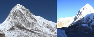 File photos of Pumori, the mountain from which the avalanche that hit EBC in 2015, came. These photos are from expeditions in previous years (Photo: left pix, courtesy Love Raj Singh Dharmshaktu; right pix, courtesy Dr Murad Lala)