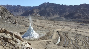 The ice-stupa; Phyang monastery in the backdrop (Photo: by arrangement)