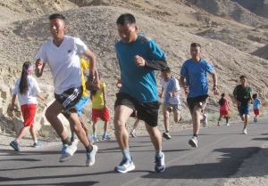 From the training session near Shanti Stupa, Leh (Photo: Shyam G Menon)