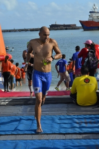 Kaustubh finishing the 3.8 km-swim at Ironman Brazil (Photo: by arrangement)