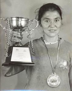 Rigzen Angmo after winning the 1995 Bangkok Marathon (photo: by arrangement).