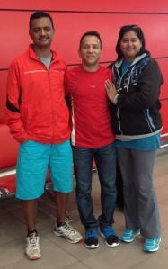 Satish (centre) with Dereck Mahadoo and his wife Shereen (Photo: courtesy Satish Gujaran)
