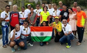 Satish (far right) with fellow Indian runners on the occasion of the 2015 edition of The Comrades. (Photo: courtesy: Satish Gujaran)