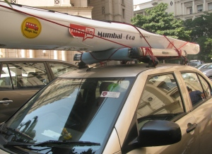 The kayak on top of the car (Photo: Shyam G Menon)