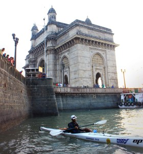 Kaustubh casting off from near the Gateway of India, Mumbai (Photo: courtesy Kaustubh Khade)