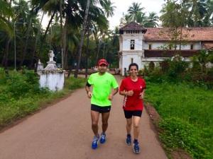 Ahead of the Goa River Marathon, Girish with fellow runner Deepa Raut (Photo: courtesy Girish Mallya)