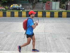 That familiar picture from Mumbai running - Girish with backpack (Photo: courtesy Girish Mallya)