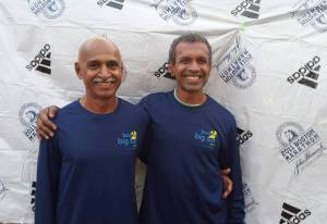 KC Kothandapani and Bobby ahead of their 2015 trip to run the Boston and Big Sur marathons (Photo: courtesy Thomas Bobby Philip)