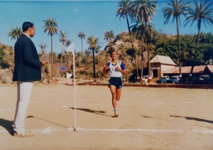 Kothandapani nearing the finishing line at the 1987 Air Force Cross Country Championship, Mt Abu, Rajasthan