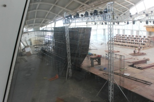 A wall gets ready: The wall, brought in from Taloja, assembled and put together at the venue. (Photo: Pravin Shinde)