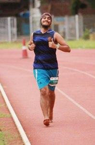 Inderpal, during the 12 hour stadium run in Mumbai (Photo: courtesy Inderpal Singh Khalsa)