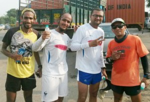 With Satish Gujaran and Kieren D'Souza from the Mumbai-Surat run (Photo: courtesy Inderpal Singh Khalsa)