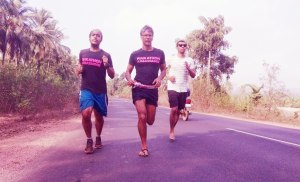 With Milind Soman (centre) on the final days of the Mumbai-Goa run (Photo: courtesy Inderpal Singh Khalsa)