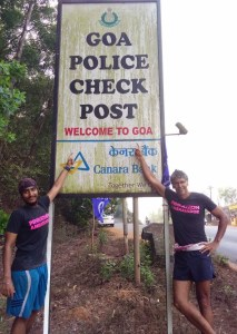 With Milind Soman at the check-post before Goa (Photo: courtesy Inderpal Singh Khalsa)