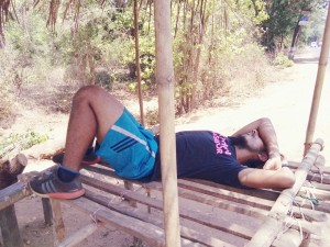 Grabbing some rest during the Mumbai-Goa run (Photo: courtesy Inderpal Singh Khalsa)