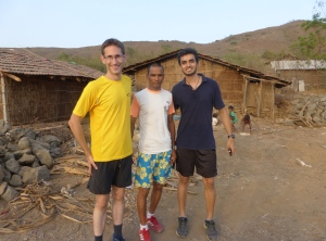 Philip (left) with Kamlya Bhagat (centre) and Aditya Shroff at Kamlya's village (Photo: courtesy Philip Earis)