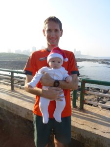 Philip with his daughter at the Joggers Park in Bandra, Mumbai; a Christmas Day.