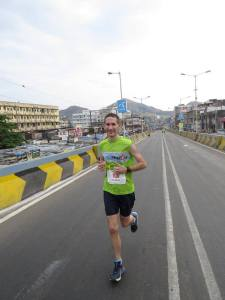 Philip running the Vasai-Virar Mayor's Marathon (VVMM) near Mumbai (Photo: courtesy Philip Earis)