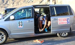 In the support vehicle (Photo: courtesy Vijayalakshmi Nadar)