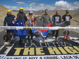 Grant, Jovica and their support crew at the finish line (Photo: Shyam G Menon)