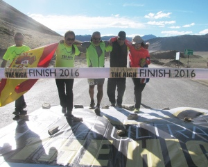 Mark and his crew reach the finish line in Dibrung (Photo: Shyam G Menon)