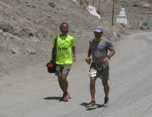 August 12. Ryoichi Sato and Mark on the approach to Goba Guest House, Leh (Photo: Shyam G Menon)