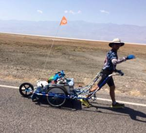 Grant, during Badwater 146 mile solo, self supported crossing he did in the days after the 2016 edition of La Ultra (Photo: courtesy Grant Maughan)